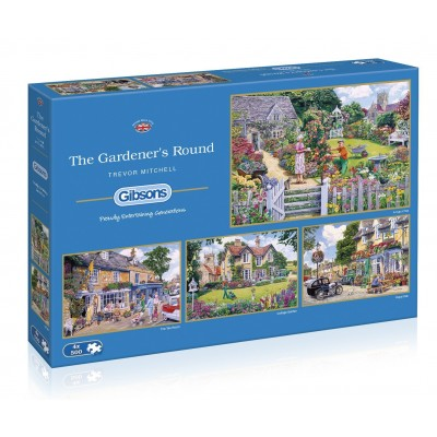 Gibsons-G5047 4 Puzzles - The Gardener's Round