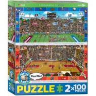 Eurographics-8902-0621 2 Puzzles - Find Me - Basketball & Football Américain
