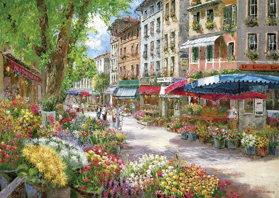 le march des fleurs paris en france sam park puzzle format paysage 1000 pi ces schmidt. Black Bedroom Furniture Sets. Home Design Ideas