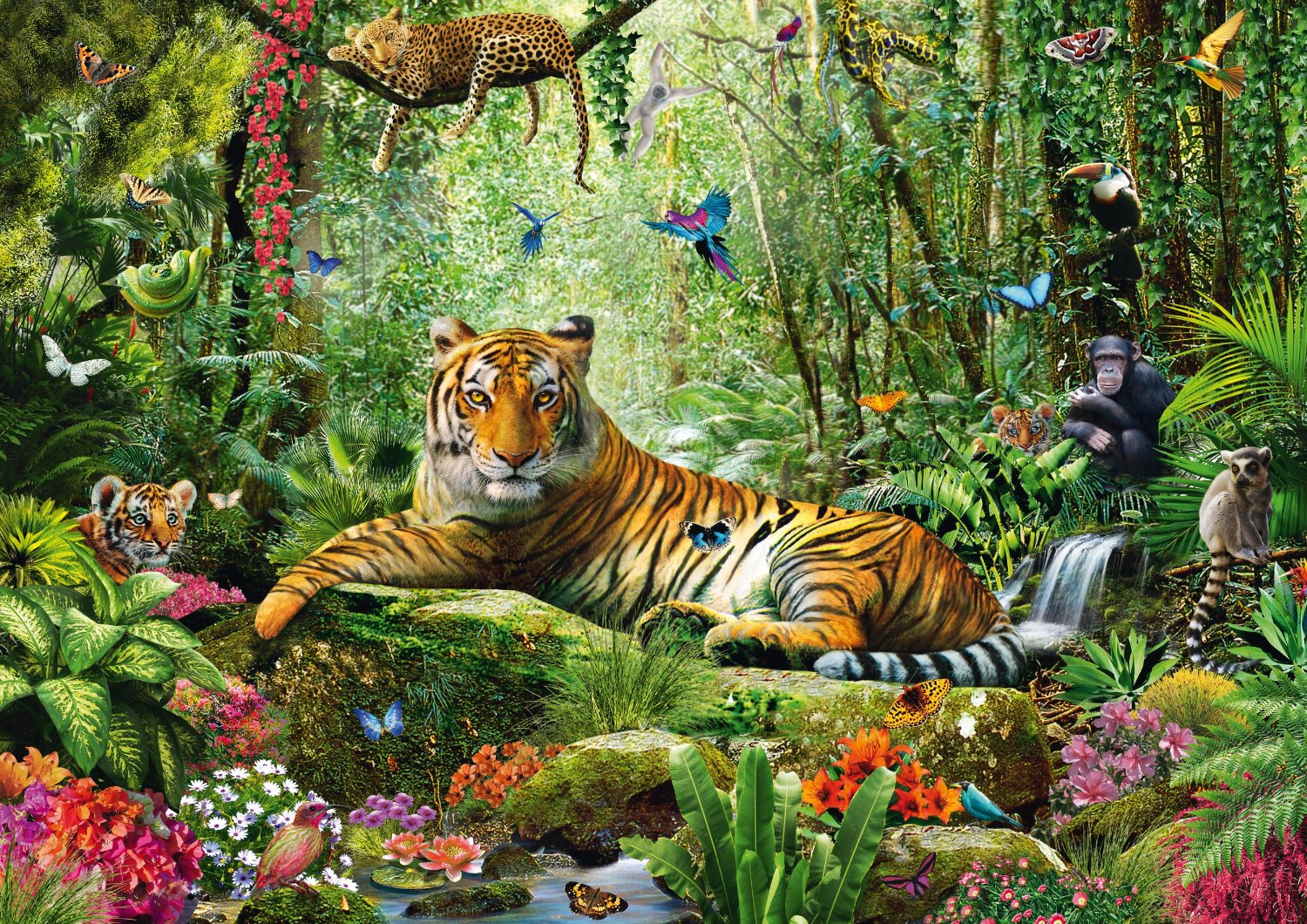 tigres dans la jungle 1500 teile schmidt spiele puzzle acheter en ligne. Black Bedroom Furniture Sets. Home Design Ideas