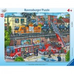 Ravensburger-05093 Puzzle Cadre - Firefighters in Action