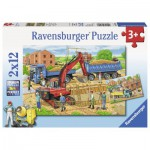 Ravensburger-07589 2 Puzzles - Le Chantier de Construction