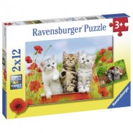 Ravensburger-07626 2 Puzzles - Chatons
