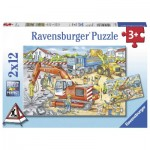 Ravensburger-07630 2 Puzzles - Site de Construction