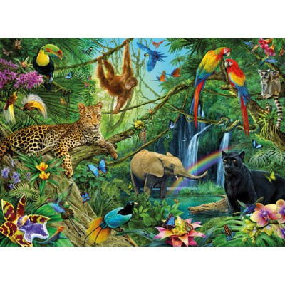 Puzzle Ravensburger-12660 Animaux dans la jungle