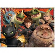 Puzzle  Ravensburger-12812 Hicks, Astrid et le Dragon