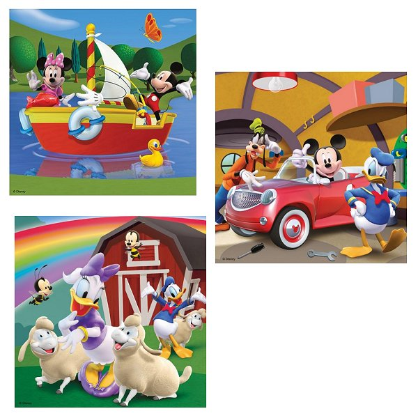 3 puzzles tout le monde aime mickey 49 teile ravensburger puzzle acheter en ligne. Black Bedroom Furniture Sets. Home Design Ideas