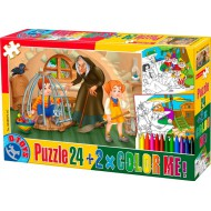 Puzzle  Dtoys-50380-PC-07 Color Me : Hansel et Gretel + 2 dessins à colorier
