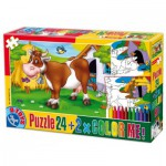 Puzzle  Dtoys-60730-PC-01 Color Me : La vache dans le pré + 2 dessins à colorier