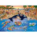 Puzzle  Dtoys-70876 Cartoon Collection - Embouteillage à la plage