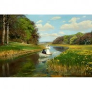 Puzzle  Dtoys-72795-BR01 Hans Andersen Brendekilde: A You Couple in a Rowing Boat on Odense