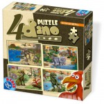 Dtoys-73051-DP-01 4 Puzzles - Dino