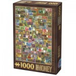 Puzzle  Dtoys-74362-VC04 Vintage Collage - Billets de Banque