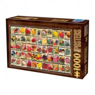 Puzzle  Dtoys-74492 Vintage Collage - Fleurs