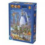 Puzzle  Dtoys-74690 Cartoon Collection - Construction du Burj Al Arab