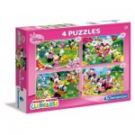 Clementoni-07603 4 Puzzles - Mickey Mouse & Friends