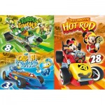 Clementoni-25227 4 Puzzles - Mickey and The Roadster Racers