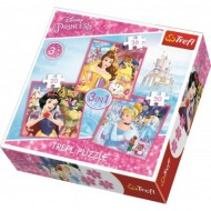 Trefl-34833 3 Puzzles - Disney Princess