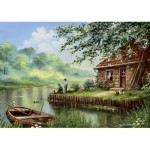 Puzzle  Art-Puzzle-5071 Evening Fishing Rod