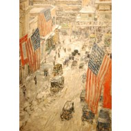 Puzzle  Grafika-00268 Childe Hassam : Flags on 57th Street, Winter, 1918
