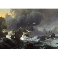 Puzzle  Grafika-01778 Ludolf Backhuysen : Ships in Distress off a Rocky Coast, 1667