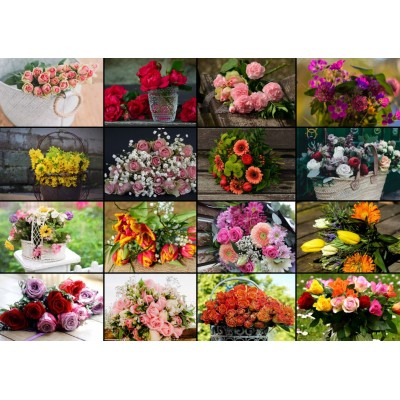 Puzzle Grafika-T-00520 Collage - Bouquets de Fleurs