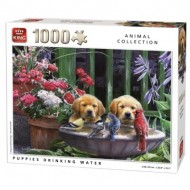 Puzzle  King-Puzzle-05668 Puppies drinking Water