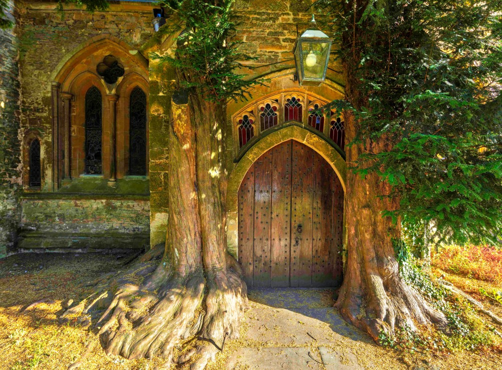 st-edwards-parish-church-north-door-flanked-by-yew-trees
