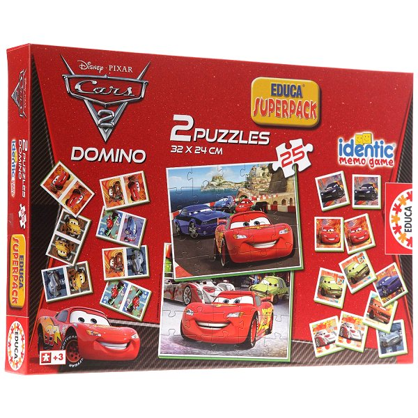 Superpack Cars 2 : Memory, puzzles et dominos. Superpack Cars 2 : Memory, puzzles et dominos 25 Pièces  Educa