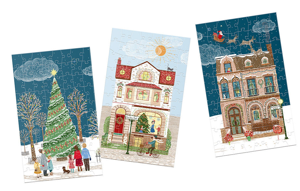 12 Puzzles 80 Pièces - Christmas Street
