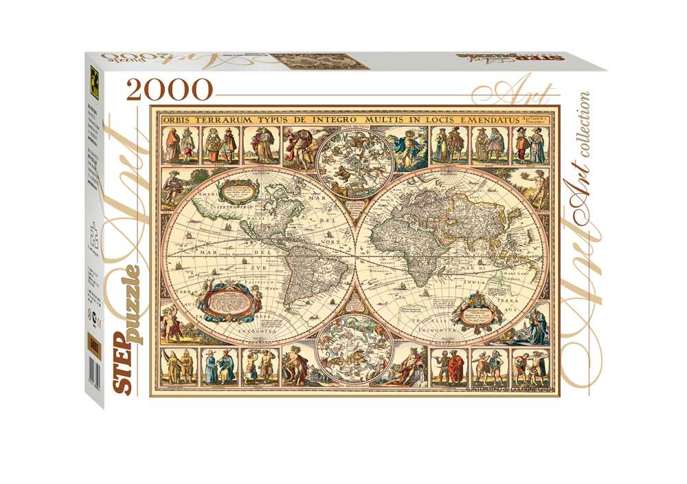 vieille carte du monde 2000 teile step puzzle puzzle. Black Bedroom Furniture Sets. Home Design Ideas