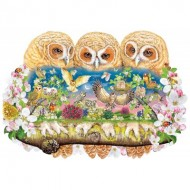 Wentworth-840106 Puzzle en Bois - Owlets in The Moonlight